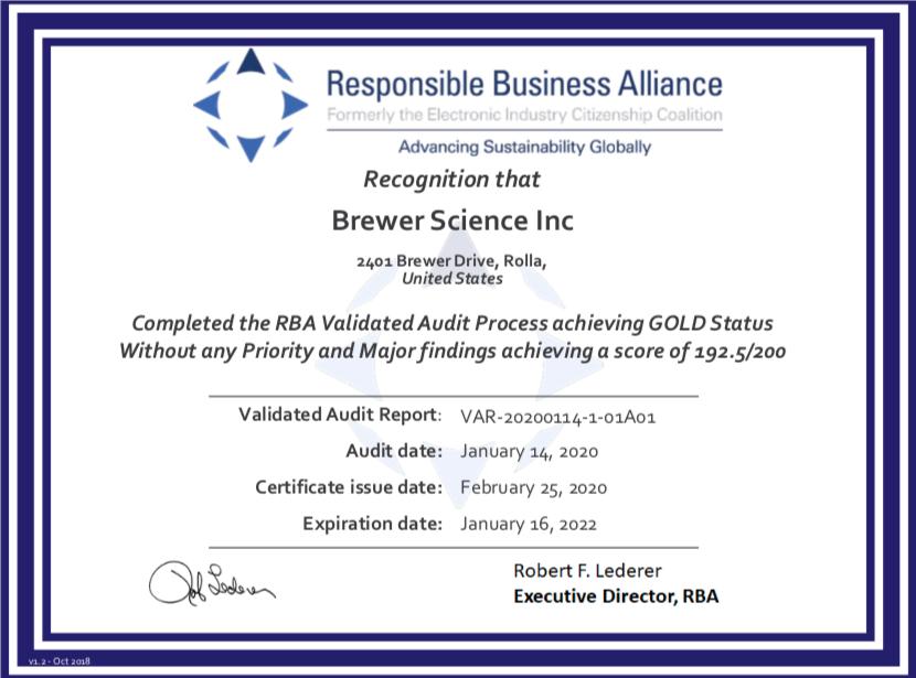 RBA Achievement Certificate
